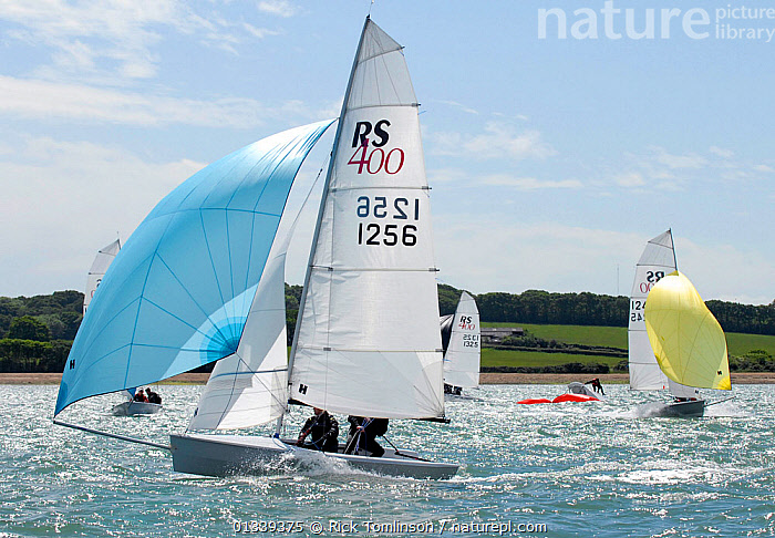Second place overall Paul Bowen and Shaun Kellett racing under spinnaker during the RS400 Gull Grand Prix. Thorness Bay, Isle of Wight, England, May 2011.  ,  BOATS,COASTS,DINGHIES,ENGLAND,EUROPE,GULLS,MAINSAILS,NUMBERS,PROFILE,RACES,RACING,SAILING BOATS,SAILS,SPINNAKERS,SUNNY,UK,SAILING-BOATS ,United Kingdom,core collection xtwox  ,  Rick Tomlinson