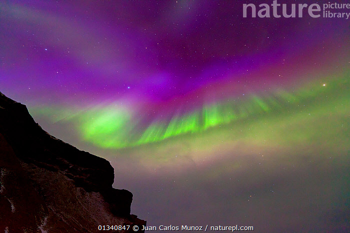 Northern Lights (Aurora Borealis) seen from mountainside. Southern Iceland, Europe, March 2011., ARCTIC,ARTY SHOTS,AURORA,BEAUTY IN NATURE,BOREAL,COLOURFUL,EUROPE,ICELAND,LANDSCAPES,LIGHTS,NIGHT,SKIES, Juan Carlos Munoz