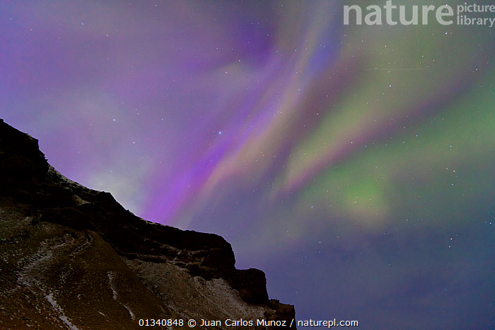 Northern Lights (Aurora Borealis) seen from mountainside. Southern Iceland, Europe, March 2011., ARCTIC,ARTY SHOTS,AURORA,BEAUTY IN NATURE,BOREAL,EUROPE,ICELAND,LANDSCAPES,LIGHTS,NIGHT,SKIES, Juan Carlos Munoz