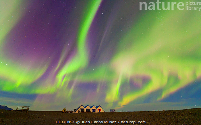 Northern lights (Aurora Borealis) in sky  above buildings by Jokulsarlon glacier lagoon. Southern Iceland, Europe, March 2011., ARCTIC,ARTY SHOTS,AURORA,BEAUTY IN NATURE,BOREAL,EUROPE,ICELAND,LANDSCAPES,LIGHTS,NIGHT,SKIES, Juan Carlos Munoz