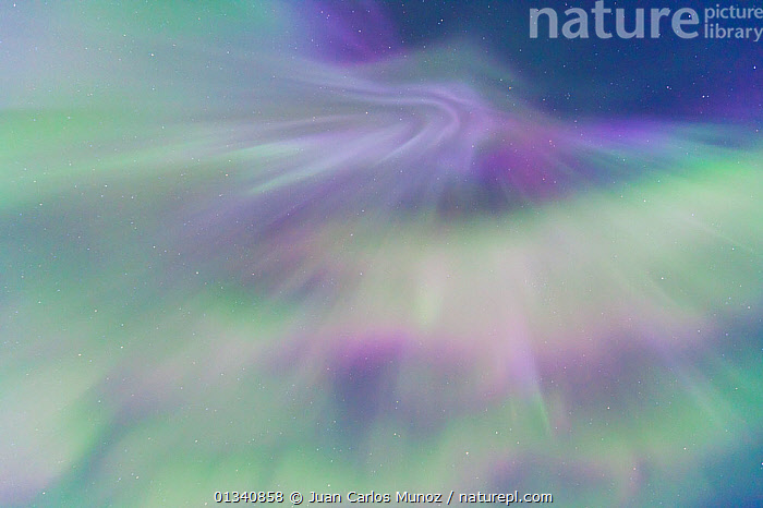 Looking up into the northern lights (Aurora Borealis) in sky,  Jokulsarlon glacier lagoon, Southern Iceland, Europe, March 2011., ABSTRACT,ARCTIC,ARTY SHOTS,AURORA,BACKGROUNDS,BEAUTY IN NATURE,BOREAL,EUROPE,ICELAND,LIGHTS,NIGHT,PATTERNS,SKIES, Juan Carlos Munoz