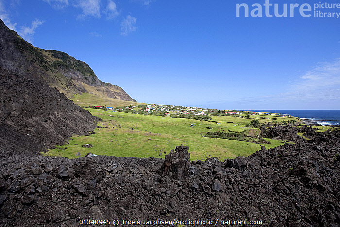Houses in Edinburgh of the Seven Seas, the main settlement on Tristan da Cunha, surrounded by solidified lava, South Atlantic Islands, March 2007., ATLANTIC ISLANDS,BUILDINGS,GEOLOGY,LANDSCAPES,MOUNTAINS,TRISTAN DA CUNHA,VILLAGES, Troels Jacobsen/Arcticphoto