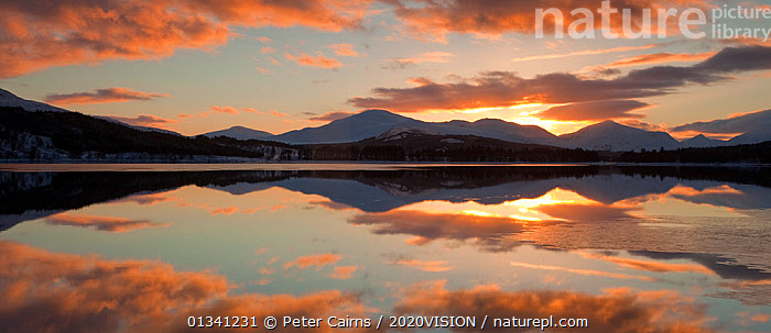 Sunset over Loch Laggan, Creag Meagaidh NNR, Highland, Scotland, UK, December 2010, 2020VISION,ATMOSPHERIC,CLOUDS,EUROPE,LAKES,LANDSCAPES,MOUNTAINS,PANORAMIC,PCA_3_0161210_33,REFLECTIONS,RESERVE,SCOTLAND,SUNSET,UK,WATER,WINTER,Weather,United Kingdom, Peter Cairns / 2020VISION