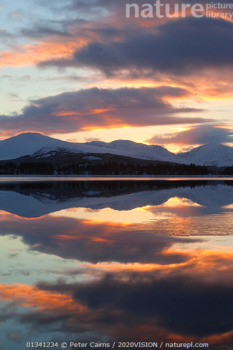 Sunset over Loch Laggan, Creag Meagaidh NNR, Highland, Scotland, UK, December 2010, 2020VISION,ARTY SHOT,ATMOSPHERIC,CLOUDS,EUROPE,LAKES,LANDSCAPES,MOUNTAINS,PCA_3_0161210_39,REFLECTIONS,RESERVE,SCOTLAND,SUNSET,UK,VERTICAL,WATER,WINTER,Weather,United Kingdom, Peter Cairns / 2020VISION