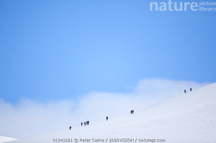 Mountain walkers on snowy ridge in winter,  Cairngorms NP, Highlands, Scotland, UK, March 2010, ADVENTURE,CAIRNGORMS,COPYSPACE,GRAMPIAN,GROUPS,HIKERS,HIKING,LANDSCAPES,LEISURE,MOUNTAINS,NATIONAL,OUTDOORS,PARK,PCA_3_111110_46,PEOPLE,ROWS,SCOTLAND,SKY,SNOW,WALKING,WHITE,WINTER,Europe,UK,United Kingdom, Peter Cairns / 2020VISION