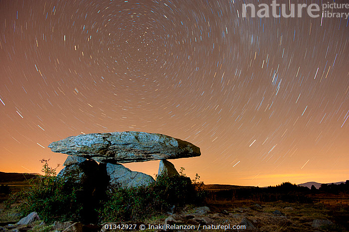 Dolmen d'Eyna at night, with a long exposure capturing star trails. Eyne, Pyrenees, France, September 2010.  ,  ancient,archaeology,belief,burial site,capstone,catalogue4,COUNTRYSIDE,Dolmen,dolmen d'Eyna,EUROPE,Eyne,FRANCE,GEOLOGY,Historic,LANDSCAPES,light trail,long exposure,Megalithic,neolithic,NIGHT,Nobody,pagan,pyrenees,rock formation,ROCKS,rural,SKIES,SKY,starry sky,STARS,startrails,stone,timed exposure,time lapse,tomb,WILDLIFE  ,  Inaki Relanzon