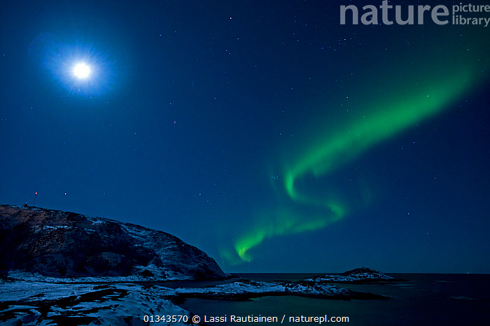 Northern lights in moonlit sky, northern Finland, March 2009  ,  ATMOSPHERIC,beauty in nature,BLUE,bright,catalogue4,coastal,COLOURFUL,Enchanting,EUROPE,Finland,GREEN,headland,LANDSCAPES,magical,MOON,moonlight,Moonlit,mystery,NIGHT,Nobody,Northern Lights,sea,SKY,Scandinavia,Wonder,Spectacular,,,Divine,  ,  Lassi Rautiainen