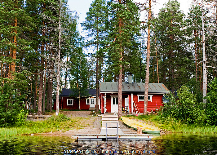 Kuikka base camp for wildlife photography safaris, Kuhmo, Finland, July 2009  ,  BOATS,BUILDINGS,DRY LAND,EUROPE,FINLAND,HUTS,LAKES,LANDSCAPES,OPEN BOATS,SUMMER,TOURISM,WATER,WOODEN,WOODLANDS,Scandinavia  ,  Lassi Rautiainen
