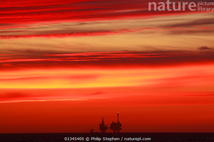 Dawn at Bruce Oilfield on the North Sea, May 2011.  ,  ATMOSPHERIC,CLOUDS,DAWN,DRAMATIC,EUROPE,LANDSCAPES,NORTH SEA,OILRIG,OIL RIG,OILRIGS,OIL RIGS,RED,SILHOUETTES,SKIES,SUNRISE,Weather,CONCEPTS  ,  Philip Stephen
