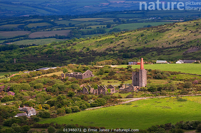 Abandoned tin mine and farmland. Bodmin Moor, Cornwall, UK, May.  ,  BUILDINGS,COUNTRYSIDE,DERELICS,EUROPE,INDUSTRY,LANDSCAPES,MINING,OLD,RUINS,UK,United Kingdom  ,  Ernie Janes