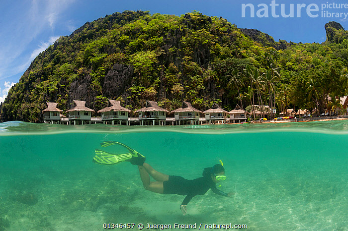 Snorkeler swimming underwater, split level, with Miniloc Island Resort in the background, El Nido, Palawan, Philippines, May 2009. Model released  ,  ASIA,BUILDINGS,catalogue4G,COASTS,coral triangle,El Nido,exploration,headland,Holiday resort,HOLIDAYS,house on stilts,INDO PACIFIC,LANDSCAPES,MARINE,mid adult,Miniloc Island Resort,one person,Palawan,PEOPLE,Philippines,snorkeler,SNORKELING,snorkelling,split level,SPLIT LEVEL,SWIMMING,TOURISM,travel destination,TROPICAL,UNDERWATER,view to land,water level,wetsuit,WOMAN,WWF,Concepts,SOUTH-EAST-ASIA  ,  Jurgen Freund