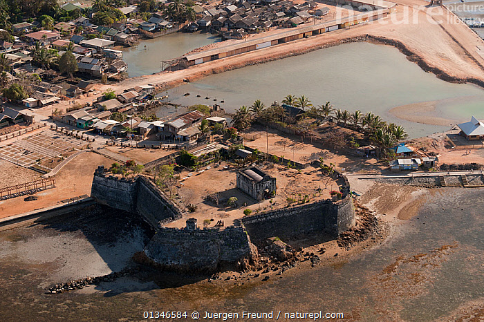 Aerial view of the historic Taytay Fort, the Fuerza de Santa Isabel, built in 1667, Palawan, Philippines, April 2010.  ,  AERIALS,BUILDINGS,CASTLES,COASTS,CORAL TRIANGLE,HISTORICAL,INDO PACIFIC,LANDSCAPES,PHILIPPINES,SOUTH EAST ASIA,TOWNS,  ,  Jurgen Freund