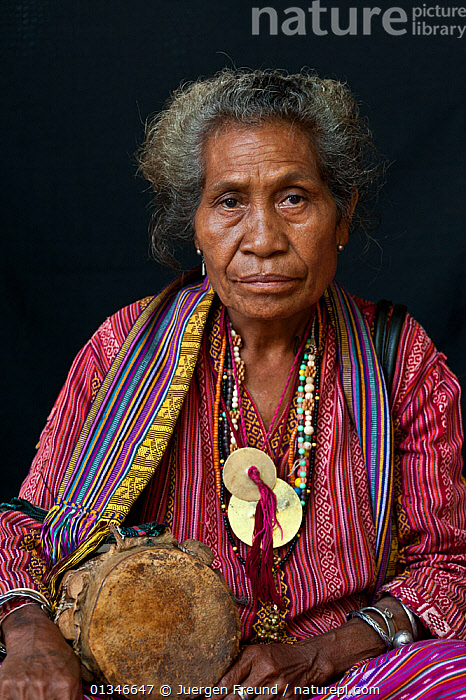 Portrait of East Timorese woman in traditional clothing, Maubara, East Timor, August 2010.  ,  ASIAN,CORAL TRIANGLE,INDO PACIFIC,PEOPLE,PORTRAITS,SOUTH EAST ASIA,VERTICAL,WOMAN,  ,  Jurgen Freund