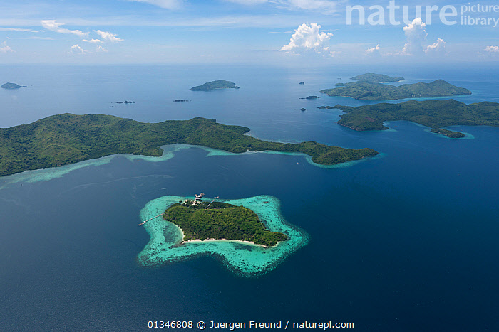 Aerial view of Jewelmer Pearlfarm platform on coral fringed island, Palawan, Philippines, May 2009.  ,  AERIALS,COMMERCIAL,CORAL TRIANGLE,CORAL REEFS,INDO PACIFIC,ISLANDS,LANDSCAPES,PHILIPPINES,SOUTH EAST ASIA,TROPICAL,,SOUTH-EAST-ASIA,Asia  ,  Jurgen Freund