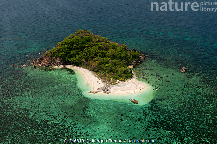 Aerial view of coastal island with white sand beaches, Palawan, Philippines, May 2009.  ,  AERIALS,BEACHES,CORAL TRIANGLE,INDO PACIFIC,ISLANDS,LANDSCAPES,PHILIPPINES,SOUTH EAST ASIA,TROPICAL,  ,  Jurgen Freund
