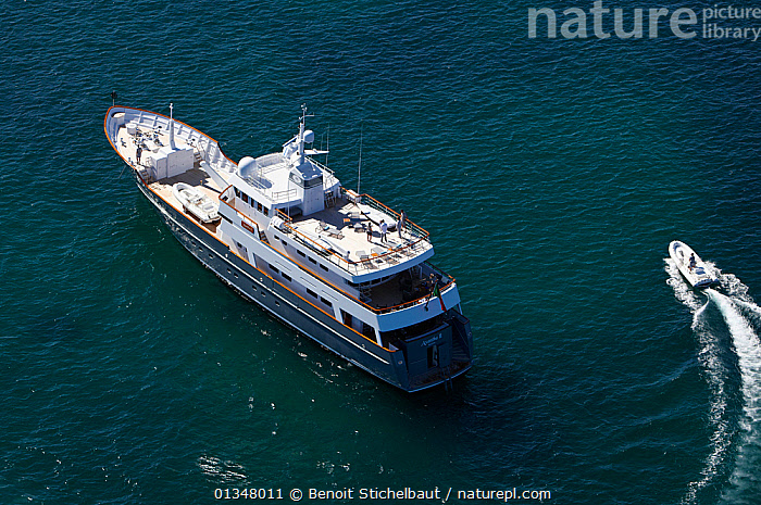 """Aerial image of superyacht """"Axantha II"""", Brittany, France, June 2011. All non-editorial uses must be cleared individually.  ,  AERIALS,BOATS,DECKS ,EUROPE,LUXURY,MIXED BOATS,MOTORBOATS,SCALE,SIZE,SUPERYACHTS,BOAT-PARTS,core collection xtwox  ,  Benoit Stichelbaut"""