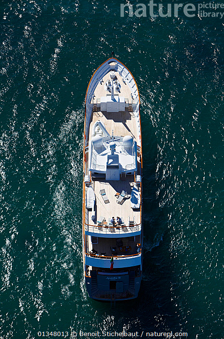 "Aerial image of superyacht ""Axantha II"", Brittany, France, June 2011. All non-editorial uses must be cleared individually., AERIALS,BOATS,DECKS ,EUROPE,LARGE,LUXURY,MOTORBOATS,RIPPLES,SUPERYACHTS,VERTICAL,BOAT-PARTS,SIZE ,core collection xtwox, Benoit Stichelbaut"