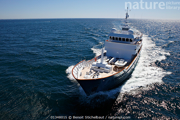"""Superyacht """"Axantha II"""", Brittany, France, June 2011. All non-editorial uses must be cleared individually., BOATS,EUROPE,FRONT VIEWS,HIGH ANGLE SHOT,LARGE,LUXURY,MOTORBOATS,SUPERYACHTS,WAKE,SIZE ,core collection xtwox, Benoit Stichelbaut"""