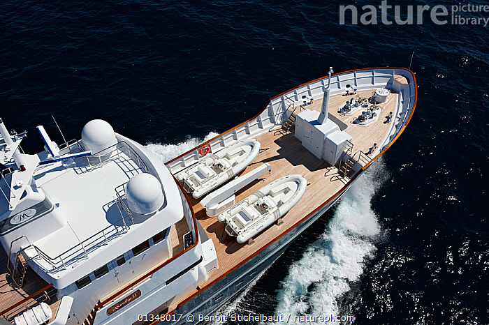 """Aerial image of tenders on the foredeck of superyacht """"Axantha II"""", Brittany, France, June 2011. All non-editorial uses must be cleared individually., AERIALS,BOATS,DECKS ,EUROPE,HIGH ANGLE SHOT,LARGE,LUXURY,MOTORBOATS,MS,RIBS,SUPERYACHTS,TENDERS,BOAT-PARTS,SIZE ,OPEN-BOATS  ,core collection xtwox, Benoit Stichelbaut"""