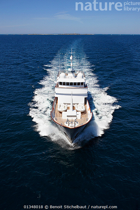 """Aerial image of superyacht """"Axantha II"""", Brittany, France, June 2011. All non-editorial uses must be cleared individually., AERIALS,BOATS,DECKS ,EUROPE,FRONT VIEWS,HIGH ANGLE SHOT,LARGE,LUXURY,POWERFUL,SPRAY,SUPERYACHTS,VERTICAL,WAKE,BOAT-PARTS,SIZE ,Concepts,core collection xtwox, Benoit Stichelbaut"""