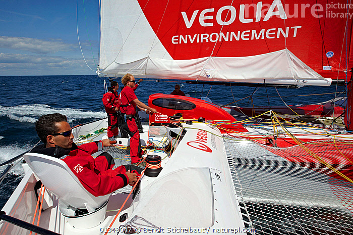 "Crew on board MOD70 trimaran ""Veolia Environnement"", Concarneau, Brittany, France, June 2011. All non-editorial uses must be cleared individually., ABOARD,ADVERTISING,BOATS,CREWS,EUROPE,MULTIHULLS ,PEOPLE,PROCEDURES,SAILING BOATS,TEXT,TRAMPOLINES,TRIMARANS,TRIMMING,YACHTS,BOAT-PARTS, Benoit Stichelbaut"