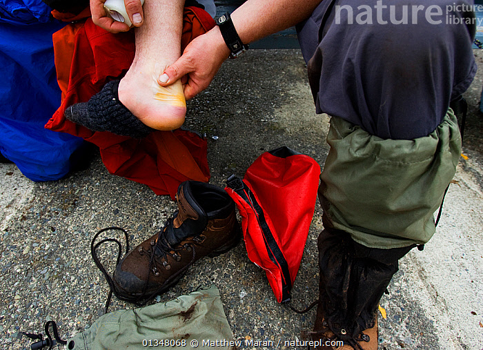 A person massaging a blistered and bruised foot. The West Coast Trail, Pacific Rim National Park, Vancouver Island, Canada, September., BOOTS,BRITISH COLUMBIA,CANADA,FEET,HIKING,NORTH AMERICA,NP,OUTDOORS,PEOPLE,RESERVE,VANCOUVER,WEST CANADA,National Park, Matthew Maran