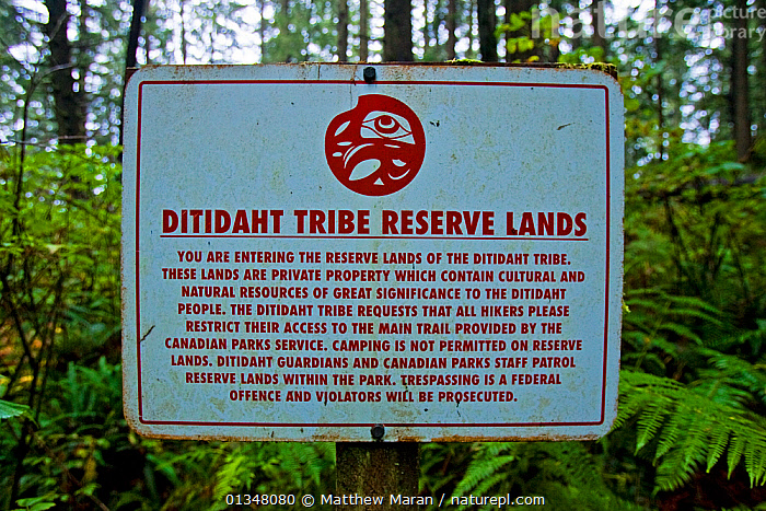 A sign warning hikers about tribal reserve lands. The West Coast Trail, Pacific Rim National Park, Vancouver Island, Canada, September 2010., BRITISH COLUMBIA,CANADA,FORESTS,INDIGENOUS,NATIVE AMERICAN,NATIVE AMERICANS,NORTH AMERICA,NP,NUU CHAH NULTH,RESERVE,SIGNS,TEMPERATE RAINFOREST,TRIBES,VANCOUVER,WEST CANADA,WOODLANDS,National Park, Matthew Maran