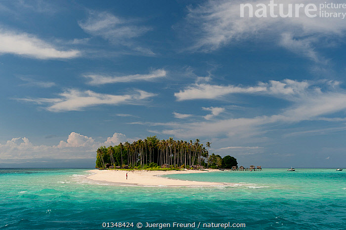 Sibuan Island where some Bajau Laut sea gypsies relocated and settled on land. Malaysia, June 2009., ASIA,BEACHES,BOATS,BUILDINGS,CLOUDS,COASTAL WATERS,CORAL TRIANGLE,CULTURES,INDO PACIFIC,ISLANDS,PALMS,SAND,SOUTH EAST ASIA,TREES,TROPICAL,,Weather,PLANTS, Jurgen Freund