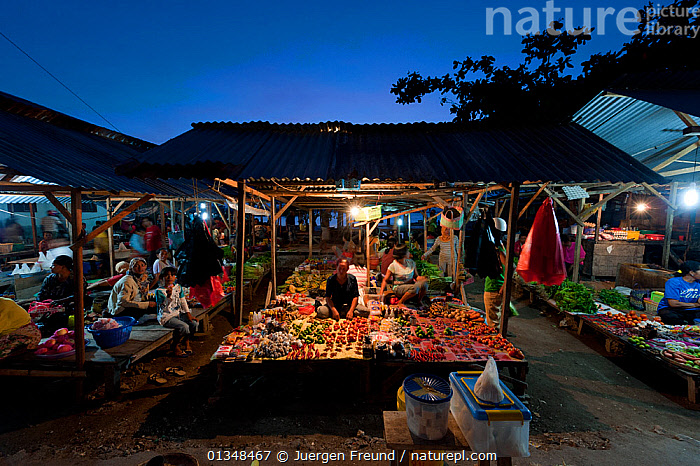 Late afternoon market selling everything from fresh fish and vegetables to cooked meals ready to serve for dinner. Wakatobi, Sulawesi, Indonesia, November 2009., ASIA,CORAL TRIANGLE,CULTURES,DUSK,FOOD,INDO PACIFIC,LIGHTS,MARKETS,PEOPLE,SELLING,SOUTH EAST ASIA,VEGETABLES,,SOUTH-EAST-ASIA,INDONESIA, Jurgen Freund