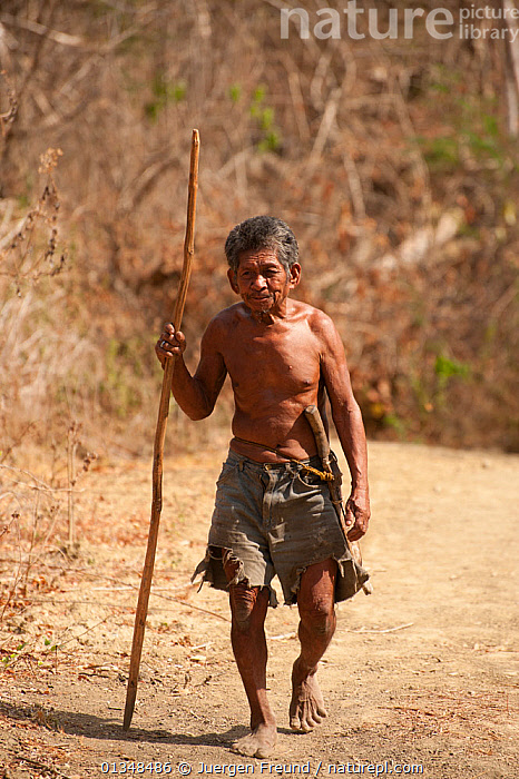 An indigenous Mangyan man walking from his village to town, a journey that may take a few hours. Calintaan, Mindoro, Phillipines, March 2010., ASIA,CORAL TRIANGLE,CULTURES,INDO PACIFIC,MEN,OLD,PEOPLE,PORTRAITS,ROADS,SOUTH EAST ASIA,VERTICAL,WALKING,, Jurgen Freund
