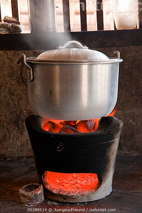 A casserole of rice cooking over charcoal on a terracotta cooker. Green Island, Palawan, Philippines, April 2009., ASIA,BOILING,CHARCOAL,COOKING,CORAL TRIANGLE,CULTURES,FIRE,FOOD,INDOORS,INDO PACIFIC,PANS,SAUCEPAN,SOUTH EAST ASIA,STEAM,VERTICAL,, Jurgen Freund