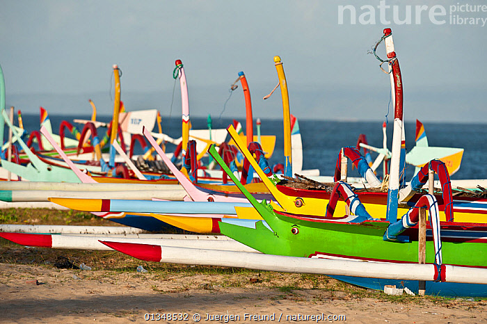 Brightly painted local fishing boats in Bali which still use traditional sails. Bali, Indonesia, July 2009., ASIA,BEACHES,BOATS,COASTS,COLOURFUL,CORAL TRIANGLE,DRY LAND,FISHING,FISHING BOATS,FLEETS,GROUPS,INDO PACIFIC,OUTRIGGERS,SOUTH EAST ASIA,TRADITIONAL,WOODEN,WORKING BOATS,,SOUTH-EAST-ASIA,OPEN-BOATS, Jurgen Freund