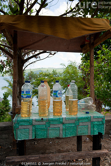 Plastic bottles containing half a litre of petrol for sale for vehicles passing along the main road. A common sight throughout Indonesia, November 2009., CORAL TRIANGLE,CULTURES,ENERGY,INDO PACIFIC,PETROL,SOUTH EAST ASIA,TRADE,TRANSPORT,VEHICLES,VERTICAL,, Jurgen Freund