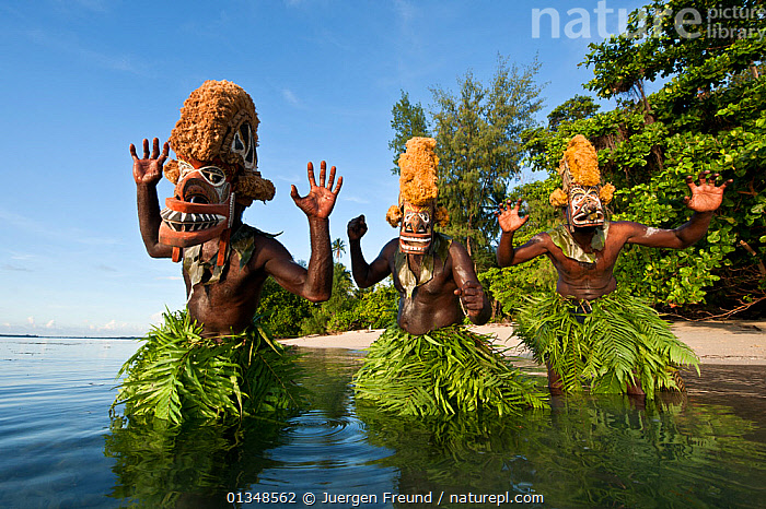 Men dancing in a Tatanua Masks, an image of the soul of the deceased. When a person dies, by Malagan tradition people dance in the shallow waters to try to drive evil spirits or taboos of the dead away from the islands and ritual sites. New Ireland, Papua New Guinea, June 2010, ASIA,BEACHES,CEREMONIES,COASTS,CORAL TRIANGLE,COSTUMES,CULTURES,DANCING,INDO PACIFIC,LEAVES,MAN,MASKS,MEN,PEOPLE,SOUTH EAST ASIA,TRADITIONAL,WATER,, Jurgen Freund