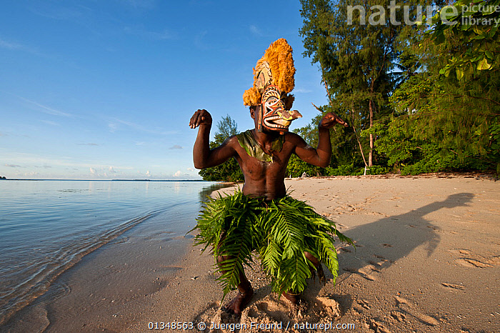 Man dancing in a Tatanua Mask, an image of the soul of the deceased. When a person dies, by Malagan tradition people dance in the shallow waters to try to drive evil spirits or taboos of the dead away from the islands and ritual sites. New Ireland, Papua New Guinea, June 2010 . NOT AVAILABLE FOR MAGAZINE USE IN GERMAN-SPEAKING COUNTRIES UNTIL 1ST JULY 2013., ASIA,BEACHES,CEREMONIES,COASTS,CORAL TRIANGLE,COSTUMES,CULTURES,DANCING,INDO PACIFIC,LEAVES,MAN,MASKS,MEN,PEOPLE,SOUTH EAST ASIA,TRADITIONAL,, Jurgen Freund