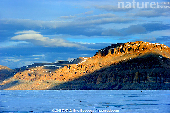 Midnight sun light over icepack and cliffs in spring. Arctic Bay, Baffin Island, Nunavut, Canada, June., ARCTIC,CANADA,CLIFFS,COASTS,GEOLOGY,ICE,ICESCAPES,LANDSCAPES,MOUNTAINS,NORTH AMERICA,POLAR,SEASCAPES, Eric Baccega