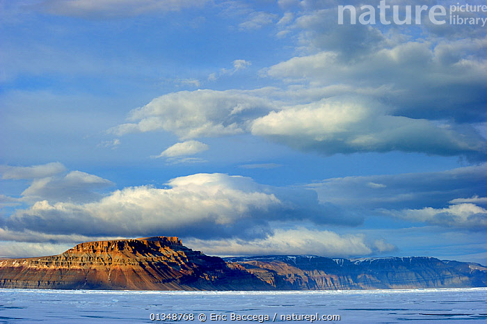 Midnight sun light over icepack and cliffs in spring. Arctic Bay, Baffin Island, Nunavut, Canada, June.  ,  ARCTIC,CANADA,COASTS,ICE,ICESCAPES,LANDSCAPES,MOUNTAINS,NORTH AMERICA,POLAR,SEASCAPES  ,  Eric Baccega