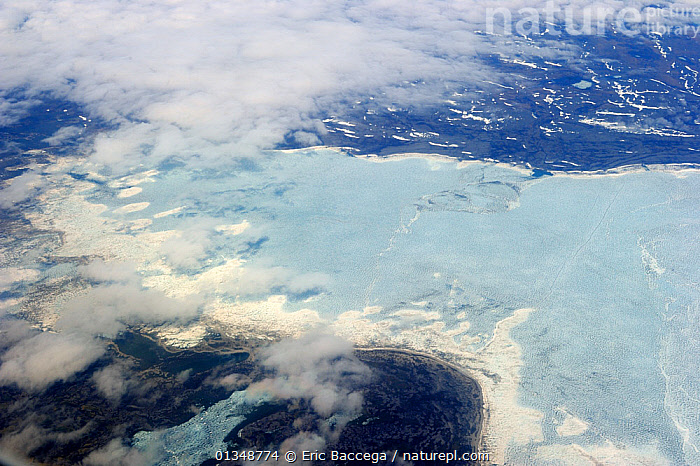 Aerial view of land and icepack in spring. Baffin Island, Nunavut, Canada, April 2009., AERIALS,ARCTIC,CANADA,COASTS,ICE,LANDSCAPES,NORTH AMERICA, Eric Baccega