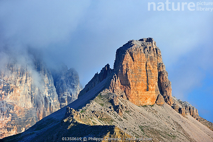 The mountain Torre dei Scarperi in the Dolomites, Italy. July 2010., catalogue4,dolomites,DRAMATIC,elevated view,EROSION,EUROPE,GEOLOGY,ITALY,LANDSCAPES,Mountain,mountain peak,mountain top,MOUNTAINS,Nobody,peaks,Physical Geography,Scenic,Torre dei Scarperi, Philippe Clement