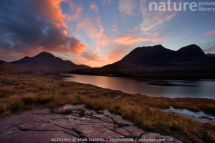 Loch Lurgainn, Cul Mor (left) and Ben More Coigach at dawn, Coigach, Highland, Scotland, UK, November  ,  2020VISION,ASSYNT,AUTUMN,COIGACH,DAWN,EUROPE,HIGHLANDS,LAKES,LANDSCAPES,MOUNTAINS,SCOTLAND,SUNRISE,UK,UPLANDS,WATER,United Kingdom  ,  Mark Hamblin / 2020VISION