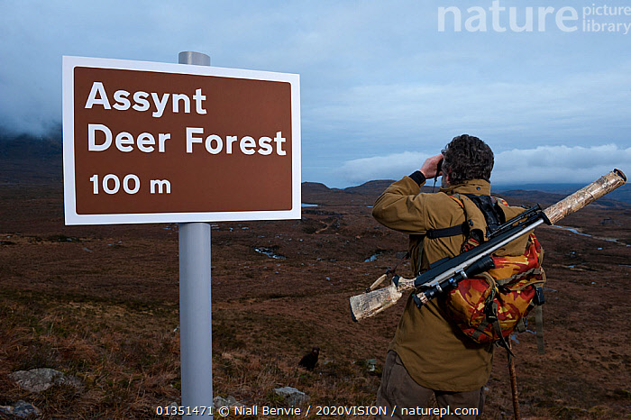 Don o�Driscoll, of the John Muir Trust, with spoof Deer Forest sign, Quinag, Sutherland, Highland, Scotland, UK, January 2011  ,  2020VISION,ASSYNT,DEER,EMPTY,EUROPE,GUN,HUMOROUS,MALE,MAN,MOORLANDS,MOUNTAINS,NBE_03_220111_0018,OUTDOORS,PEOPLE,RANGER,REWILDING,RIFLE,SCOTLAND,SIGNS,TE NB 014024,UK,UPLANDS,Concepts,United Kingdom  ,  Niall Benvie / 2020VISION