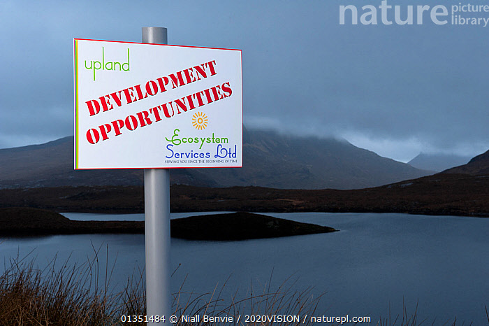 Spoof development sign, Assynt Uplands looking towards Stac Pollaidh, Sutherland, Highlands, Scotland, UK, January 2011  ,  2020VISION,ASSYNT,COASTS,DEVELOPMENT,EUROPE,HUMOROUS,IFTE NB 014114,LANDSCAPES,MOUNTAINS,NBE_03_230111_0050,REGENERATION,SCOTLAND,SIGNS,SUTHERLAND,UK,WATER,WINTER,Concepts,United Kingdom  ,  Niall Benvie / 2020VISION