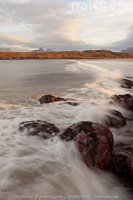 Achnahaird Bay, Inverpolly, Sutherland, Highlands, Scotland, UK, January 2011  ,  2020VISION,ASSYNT,ATMOSPHERIC,COASTS,COIGACH,EUROPE,LANDSCAPES,MOUNTAINS,PCA_3_210111_26,ROCKS,SCOTLAND,UK,UPLANDS,VERTICAL,WATER,WAVES,WINTER,United Kingdom  ,  Peter Cairns / 2020VISION