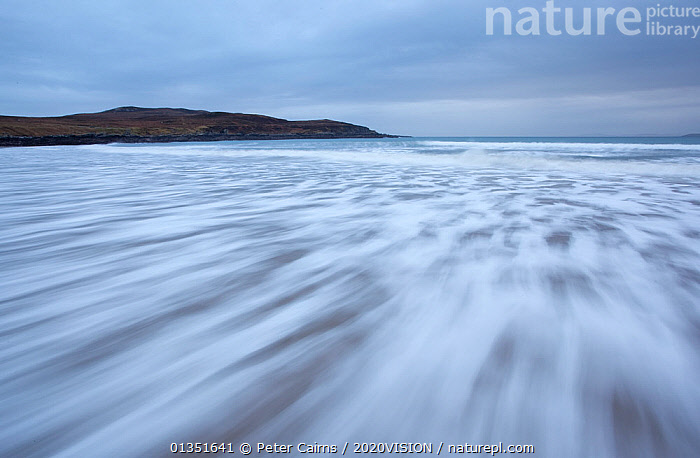 Waves rushing in over sand at low tide, Achnahaird Bay, Inverpolly, Sutherland, Highlands, Scotland, UK, January 2011  ,  2020VISION,ABSTRACT,ARTY SHOTS,ASSYNT,ATMOSPHERIC,COASTS,COIGACH,EUROPE,LANDSCAPES,MOUNTAINS,PCA_3_210111_27,SCOTLAND,UK,UPLANDS,WATER,WAVES,WINTER,United Kingdom  ,  Peter Cairns / 2020VISION