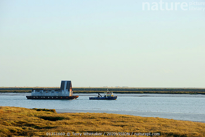 Tug towing house barge along River Roach, Wallasea Island, Essex, UK, February 2011  ,  2020VISION,BARGES,BOATS,COASTS,ENGLAND,EUROPE,HOUSEBOATS,LANDSCAPES,MANOEUVRES,MIXED BOATS,PROFILE,RIVERS,SALTMARSHES,TOWING,TUGS,twh_120211_0012,UK,URBAN,WETLANDS,WORKING BOATS,WORKING-BOATS ,United Kingdom  ,  Terry Whittaker / 2020VISION