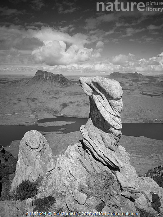 View from summit of Sgorr Tuath, sandstone pinnacles, Assynt mountains, Highland, Scotland, UK, June 2011, greyscale  ,  2020VISION,CLOUDS,EROSION,EUROPE,GEOLOGY,greyscale,HIGHLANDS,LANDSCAPES,loch,Lurgain,MOUNTAINS,Pinnacles,pollaidh,ROCKS,sandstone,SCOTLAND,Suilven,Torridonian,UK,VERTICAL,Weather,United Kingdom  ,  Joe Cornish / 2020VISION