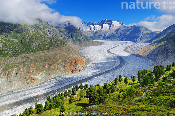 Aletsch Glacier, UNESCO World Heritage Site. Jungfrau-Aletsch-Bietschhorn, Goms, Valais, Switzerland, Europe, August 2008.  ,  DRAMATIC,EUROPE,SWITZERLAND,ALPINE,GLACIERS,ICE,LANDSCAPES,MOUNTAINS,SNOW,UNESCO,Geology  ,  Stefan Huwiler