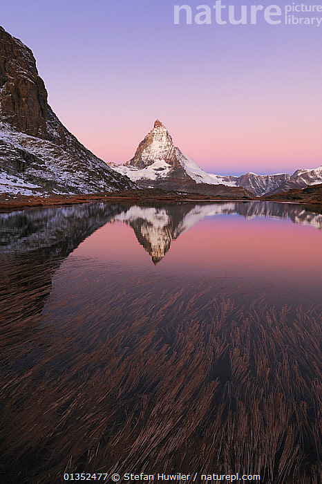 Matterhorn at sunrise in autumn with reflection in the Riffelsee. Zermatt, Valais, Switzerland, Europe, October 2008.  ,  ALPINE,CALM,LANDSCAPES,MOUNTAINS,PEACEFUL,SNOW,BEAUTY IN NATURE,DRAMATIC,EUROPE,LAKES,REFLECTIONS,SWITZERLAND,VERTICAL,WATER  ,  Stefan Huwiler
