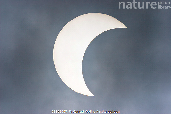 Partial eclipse of the sun, 3rd of March 2005, seen from Upper Bavaria, Germany., ARTY SHOTS,astonomy,astronomy,BACKGROUNDS,catalogue4,close up,crecent,eclipse,EUROPE,GERMANY,magical,meteorology,MOON,NIGHT,Nobody,one object,shapes,SKIES,SUN,Upper Bavaria, Konrad Wothe