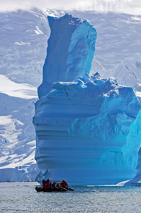 Tourists in zodiac looking at icebergs. Antarctic Peninsula, January., ANTARCTICA,BOATS,ECOTOURISM,ENVIRONMENTAL,GROUPS,ICE,ICEBERGS,LANDSCAPES,OUTDOORS,PEOPLE,POLAR,SEASCAPES,THAW,TOURISM,VERTICAL,WATER, Mark Carwardine